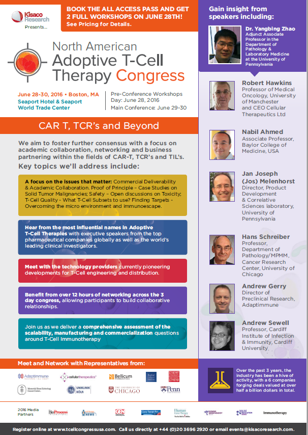 Combined CAR-T Congress Europe, 2016 agenda